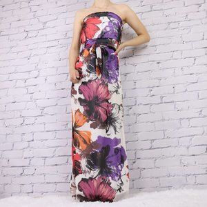Sold Dynamite strapless floral maxi dress c1